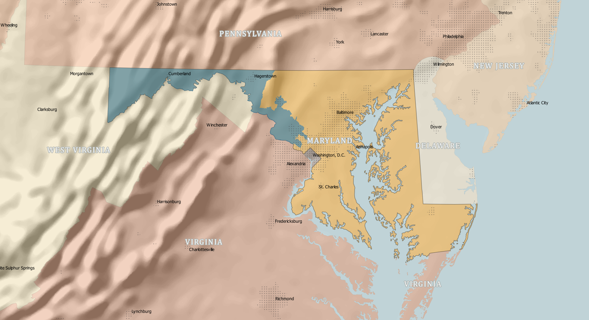 Map showing Maryland's sixth congressional district, which is being challenged in court.