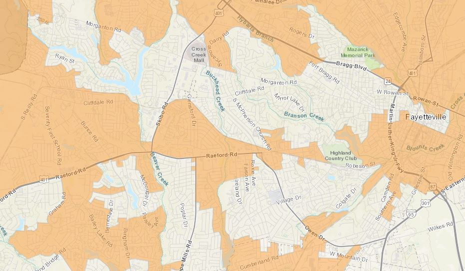 Detail of interactive Districks map showing Fayetteville area