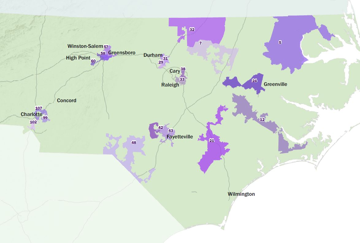 Map of NC House overturned racially gerrymandered legislative districts