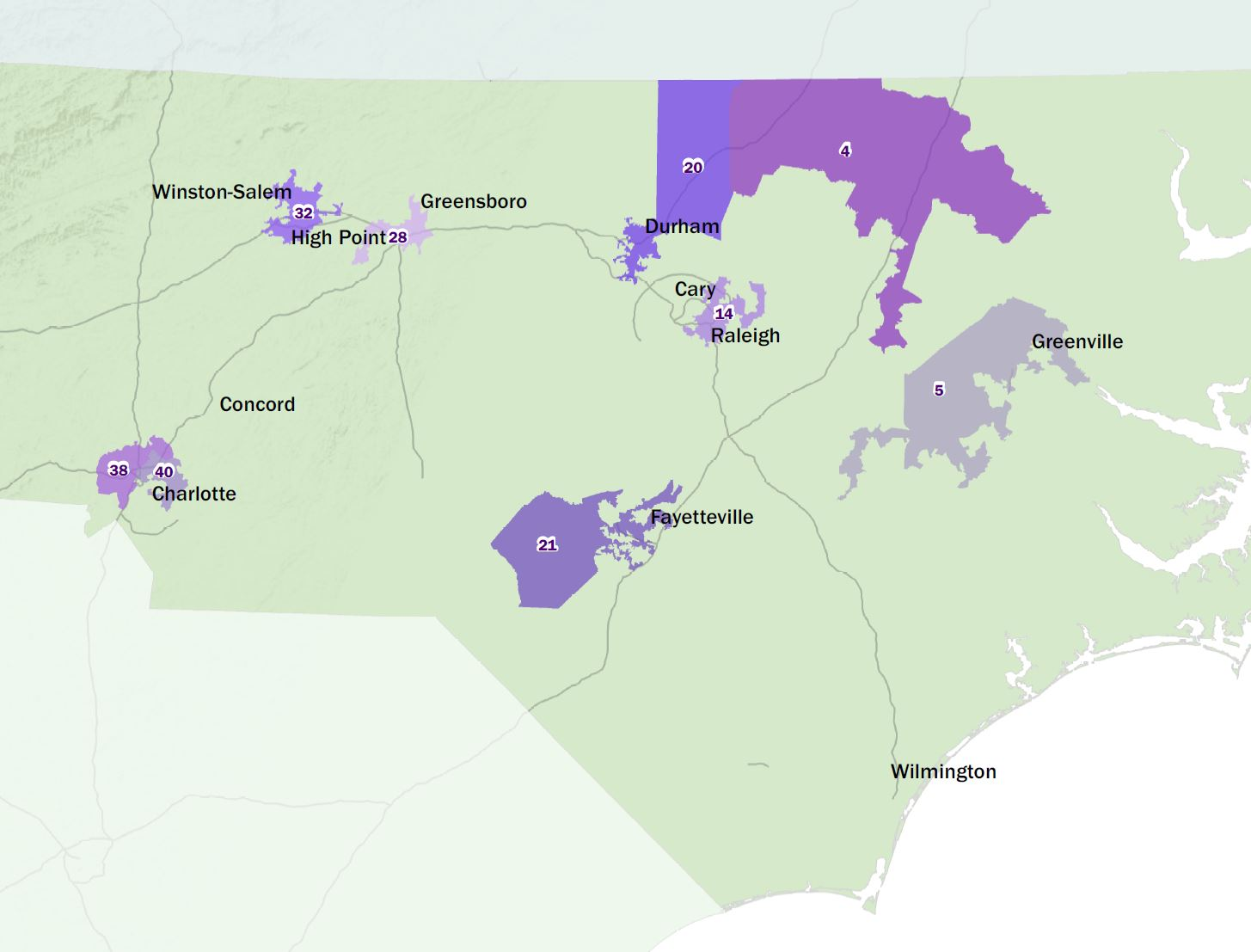 Map of NC Senate overturned racially gerrymandered legislative districts
