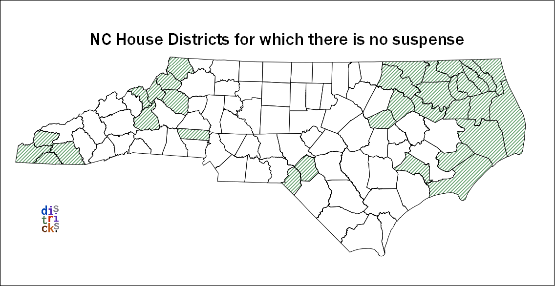 North Carolina counties for which the House districts are already set.