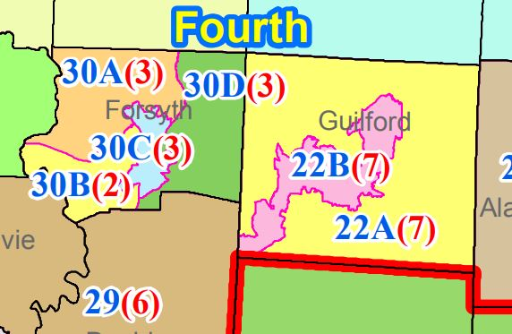 Detail of NCGA HB717 District Court Districts map